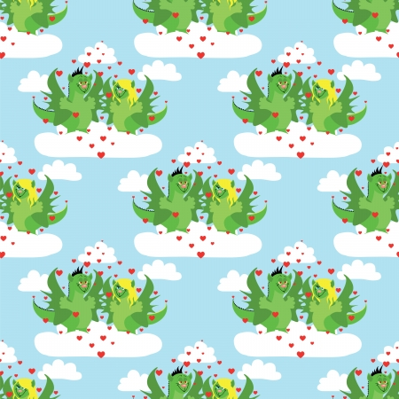 seamless pattern with pair love dragons Vector