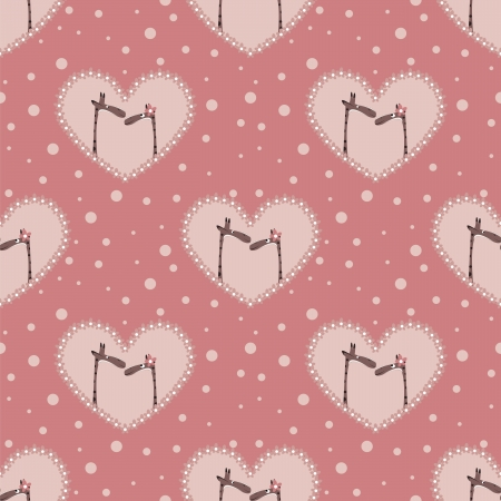 valentine`s day pattern with two  affectionate giraffes Vector