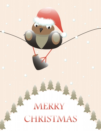 christmas card with sparrow and fir-tree Vector