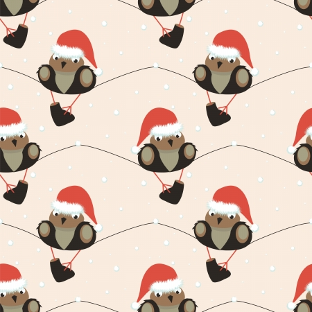 christmas seamless pattern  with sparrow Vector
