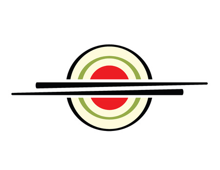 abstract sign of  sushi with  chopsticks Vector