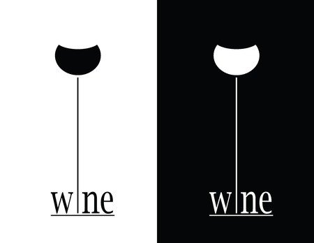wine list: set is black and white wine sign