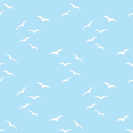 flying bird: blue seamless pattern with birds