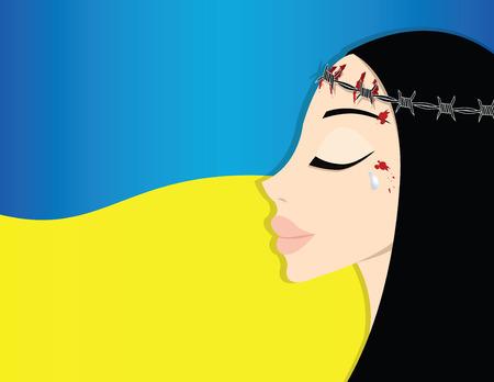 lamentation: donna come simbolo di Ucraina sulla bandiera nazionale Vettoriali