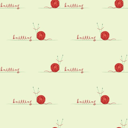seamless pattern with knitted  red snail  on green grass Vector