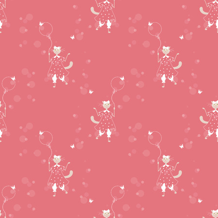 seamless pattern with lady cat with ballon Vector