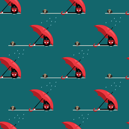 seamless pattern with cat and sparrow with umbrella Vector
