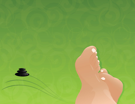 background with feet of the relax on the spa Vector