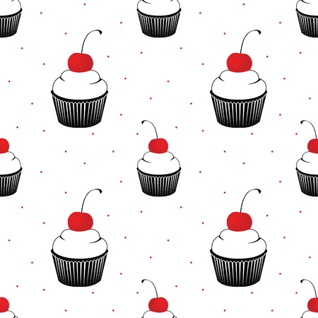 seamless pattern  with cake with cherry on white background Vector