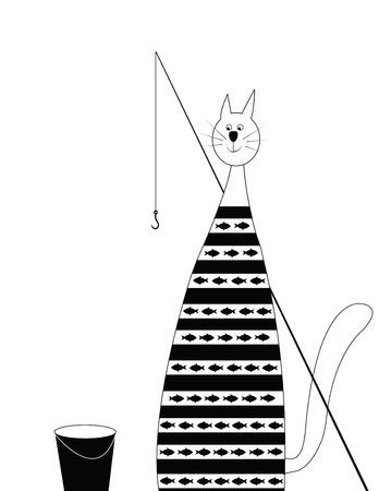 cat fisherman Vector
