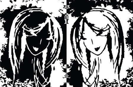 victim war: abstract two women as a symbol Illustration