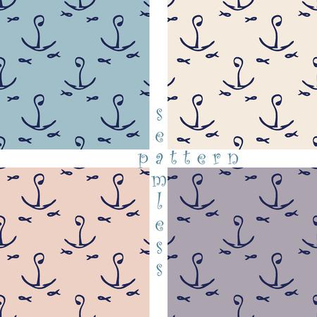 set of seamless sea pattern Vector