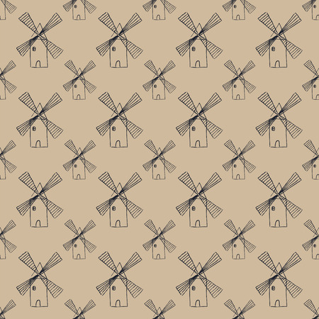 watermill: brown seamless pattern with many abstract mill