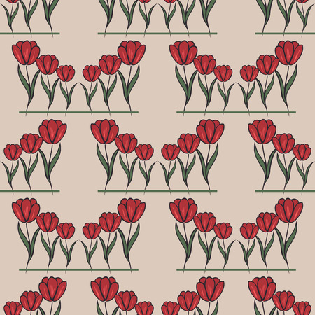 red tulip: beige seamless pattern with many red tulip