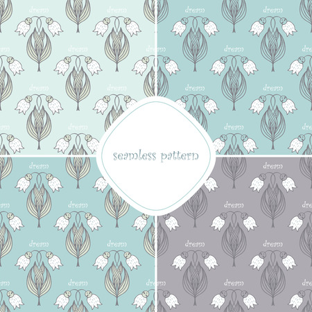 campanula: set of seamless pattern with many  may-lily Illustration