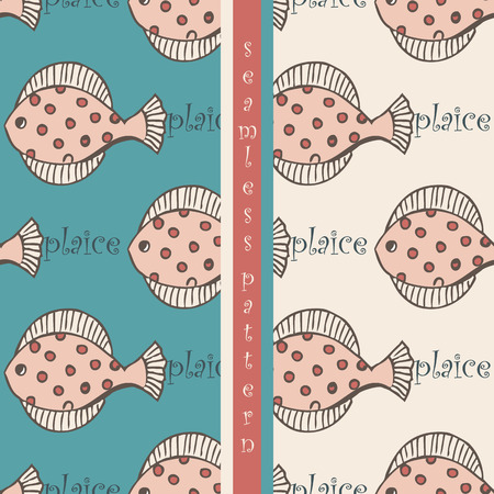 plaice: set of seamless pattern with  fish flounder or plaice