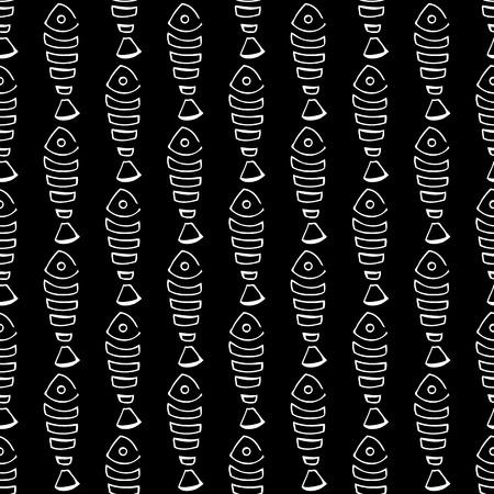 skeleton fish: black Seamless pattern with many  fish skeleton