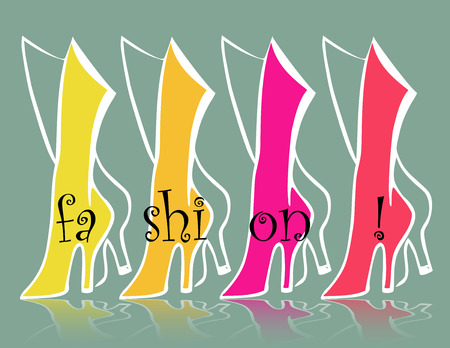 green yellow: fashion backgrounds with green, yellow, pink and red boots