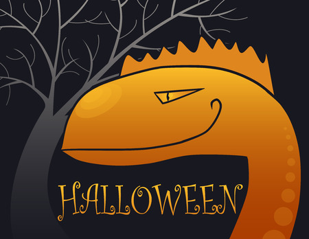 freak out: halloween backgrounds with big orange monster in the night