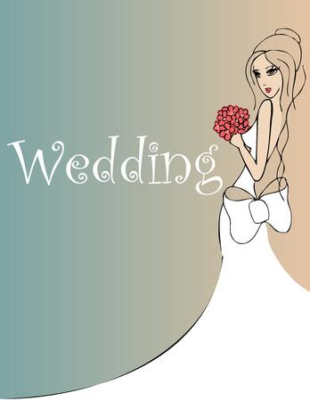 vestido de noche: fondo de la boda con la novia con flores rojas