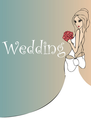 wedding dress silhouette: wedding background with bride with red flowers