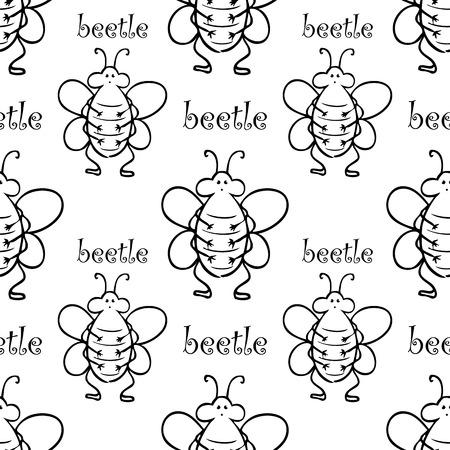 entomologist: white seamless pattern with black big thik beetle