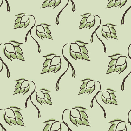 malt: green seamless pattern with  hop for malt