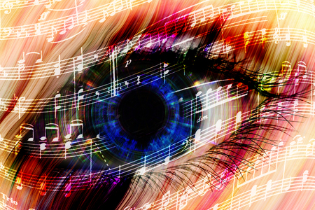 waltz: music backgroun abstract eye with the notes of a waltz Stock Photo