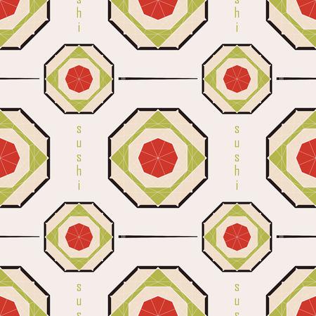 naadloze patroon met sushi in de vorm van een diamant Vector Illustratie