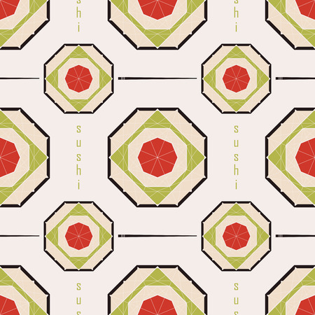 seamless pattern with sushi in the form of diamond