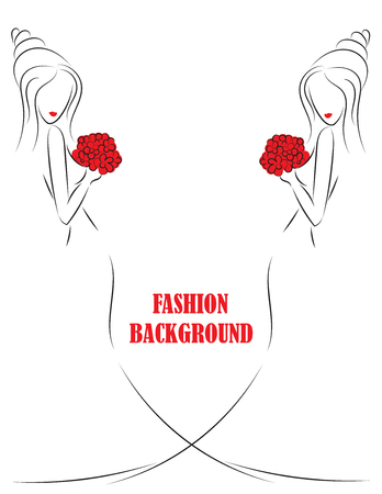 abstract rose: fashion white background with black sketch  girl or woman with flowers