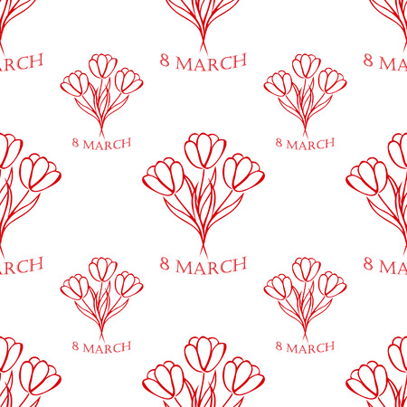 8 march: 8 march white  seamless pattern  with red tulips. sketch. vector. Illustration