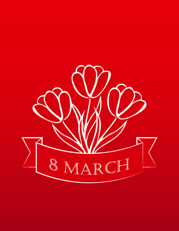 8 march: 8 march red  card with white tulips. sketch. vector. Illustration