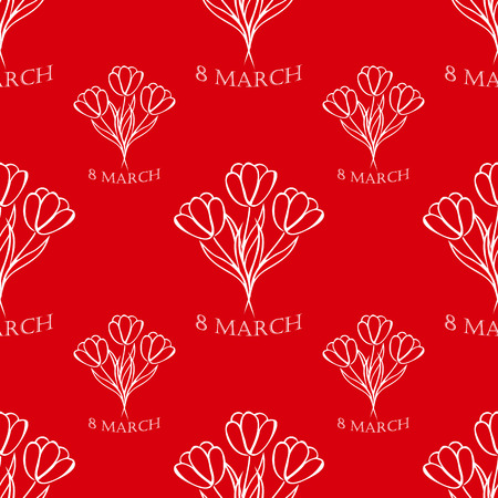 8 march: 8 march red seamless pattern  with white tulips. sketch. vector.