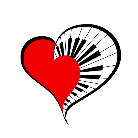 classical arts: music heart with piano keys as a simbol love music. vector. music. Illustration