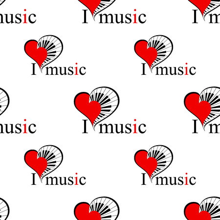 classical arts: seamless pattern with music heart with piano keys as a simbol love music. vector. music.