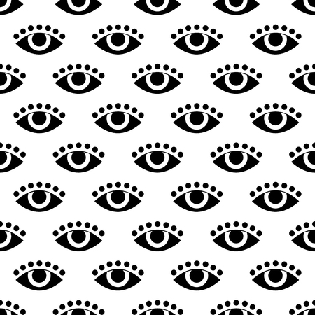 black eye: abstract white seamless pattern with black eye. vector. flat.