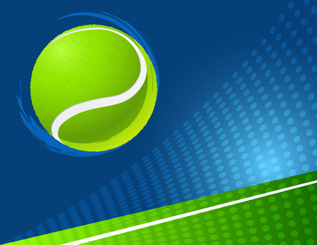 sport background: blue and green tennis background  with ball.