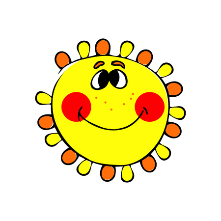 smilling: abstract smilling sun on the white background. Illustration