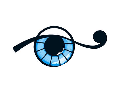 futuristic eye: isolated abstract blue eye on white background. Illustration