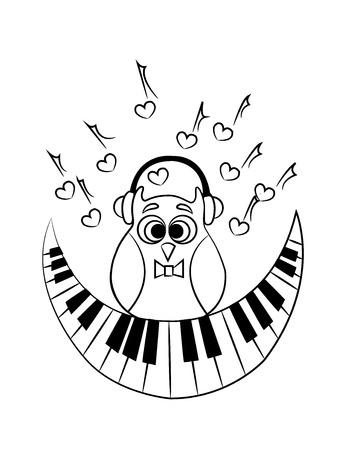Mit Eule Färbung Mit Kopfhörer Und Mit Einem Abstrakten Klavier Als ...