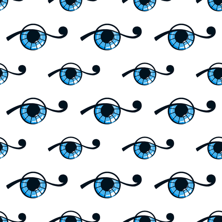 blue eye: seamless pattern with abstract blue eye on white background.