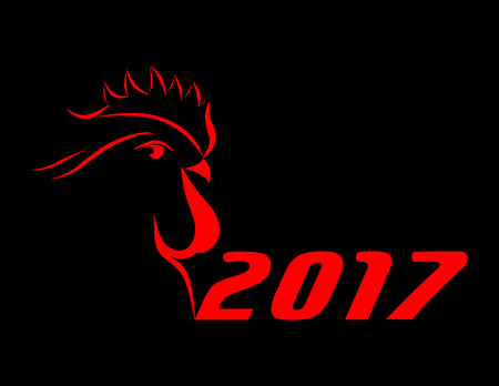 abstract big red cock 2017 on black background. new year. Illustration