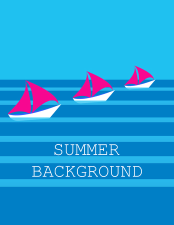 contemplation: summer background with three ships, sailboat,  sea or ocean. flat. vector