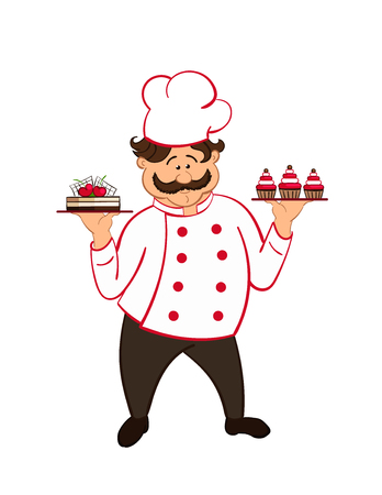confectioner: happy fat confectioner with  chocolate cakes with cherry.
