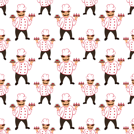 confectioner: seamless pattern with confectioner with  chocolate cakes with cherry.