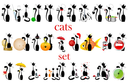 set of silhouette black cats.