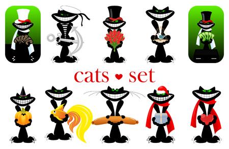 set of happy black cats. Ilustração