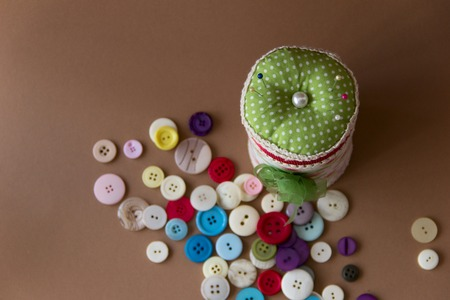 pinhead: box with many pillow for needles and buttons Stock Photo