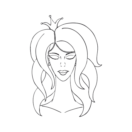 debutante: princess with crown with eyes closed. black contour on a white background. Illustration